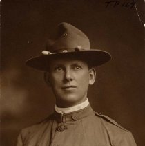 Image of TP169 - Portrait of William Bruce Wood in his World War 1 uniform, Company B, Third Battalion, 20th Engineer's Regiment, Washington, D.C. Was a barber in Sonora, 1917.