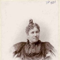 """Image of TP481 - Portrait of Maggie Fahey, January 6, 1896 The pack of picture says, """"Mr. C. Hampton - With best wishes of your co-worker, M.Fahey Sonora. Jan. 6, '96."""" """"Presented by C.H. HAMPTON - 1/5/46"""" is also written on the back of this photograph."""