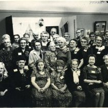 Image of TP1129 - GROUP-ON SATURDAY NIGHT JAN. 20, 1962 THE PIONEER TEACHERS OF TUOLUMNE COUNTY. WERE HONORED AT A LAMPLIGHT DINNER GIVEN BY THE TUOLUMNE COUNTY HISTORICAL SOCIETY. THEIR NAMES ARE, LEFT TO RIGHT: 