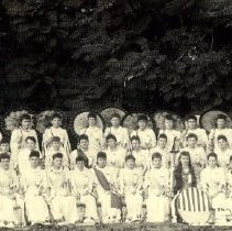 Image of TP1161 - GROUP-LODGE- NATIVE DAUGHTERS OF THE GOLDEN WEST 41ST ADMISSION DAY CELEBRATION. FIRST CELEBRATION HELD BY DARDANELLE PARLOR NO. 66, SONORA, 1891. ALL THE WOMEN ARE WEARING WHITE DRESS EXCEPT FOR 1. MOST OR ALL OF THE WOMEN HAVE PARASOLS.   THIRD ROW STANDING WITH PARASOLS, LEFT TO RIGHT - NATALITY KEIL HENDER, GEORGIE PRICE, SALLIE GIBBONS DOE, ROSE O'HARA STONE, JESSIE RICHARDS EASTMAN, LOUISE ECKEL GIBBONS, ALICE CAHAN HART, ELLA HART MCCLAIN, MARIAN VICTOR MCCAMBRIDGE, OLIVE HALE KNUDSON, IRENE HALL BACON, ALICE OPPENHEIM AND NELL LEONARD GUERIN.    SECOND ROW STANDING, FROM LEFT TO RIGHT - NETTIE BYRE ROTHER HOLDING THE SIGN THAT SAYS: DARDANELLE PARLOR NO. 66 N.D.G.W., FANNIE HALL NEWMAN, AMELIA KEIL ODGERS, ANNIE WILSON,  MARGARET PATTERSON HAMPTON HAS A DARK RIBBON ON HER DRESS, LOUISA KEEFE HARTVIG, OLIVE COWAN RABLEN, FRANCES RIORDAN REHM, MABEL PARENT, LOTTIE CASSARETTO WAINRIGHT, MARGARET MORRIS, JULIA CONLIN AND ALICE FITZGERALD LYONS.    FIRST ROW SITTING, FROM LEFT TO RIGHT - MAGGIE STEINMETZ McCORMACK, HANNAH MORRIS DOYLE, FLORA TYACK, MAGGIE PETERS DENNIS, AMELIA BAUMAN BURDEN HAS A DARK RIBBON ON HER DRESS, STELLA SELL BAUM, MAGGIE SEARS WILZINSKI, ADDIE BAUMAN KAHLMEYER IS HOLDING A SIGN AND HAS A DARK DRESS AND LONG HAIR, KITTIE KENNEY HARTVIG, TILLIE FAXON BACHMAN AND MAY WIGHT RICHARDS.