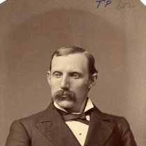 Image of TP682 - DR. E.A. MATSON, 1884, member AOUW.  He is dress in a suit, dress shirt and bow tie.  His hair is parted on the side and he has a mustache.