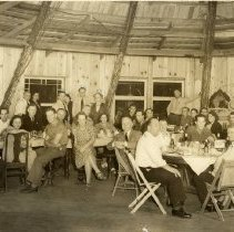 Image of TP1632 - GROUP-JAMESTOWN PROMOTION CLUB JUST BEFORE WORLD WAR II. TAKEN AT WIGWAM(OUT OF JAMESTOWN). 22. GLADYS LOWE 23. WM. HALL 24. LESLIE GROOMS (OWNER MINES SUPPLY CO) 25. PHIL. R. BRADLEY JR. 26. JORDENEA HAMNU 27. C. E. SCHAFER 28. E. MINOR 29. MRS MINOR 30. ALEX KELLY 31. MRS R. RUSHING 32. ROY RUSHING 33. MAGGIE KELLY