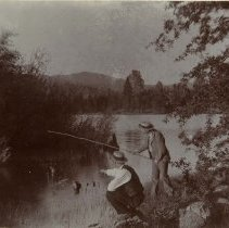 Image of TP2611 - Fishing at Phoenix Lake, July 1893. Mr. Riordan and Mr. Rehm.