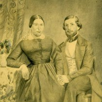 Image of TP5104 - A black and white wedding portrait of C.B. Amy and Victore  Amy. Maiden name DeBouch.