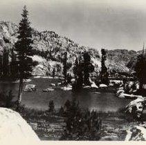 Image of TP7117 - Landscape - Emigrant Lake A black and white landscape photo of Emigrant Lake located 17.7 miles NE of Sonora Junction, Sonora, Ca. Tuolumne County.