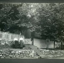Image of TP9671 - KATE (MCALLISTER) DUCHOW, WIFE OF HENRY DUCHOW, SISTER OF ANGUS AND JOHN MCALLISTER, AND IRENE DUCHOW, DAUGHTER OF KATE AND HENRY DUCHOW. HOME NEXT TO THE ARONOS CLUB THAT WAS THE BAPTIST CHURCH, SONORA, SEPT. 9, 1920.