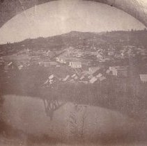 Image of TP2801 - Landscape - view of Columbia, 1862 A black and white landscape view of Columbia. Body of water showing reflection of trees in it.