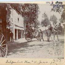 Image of TP9117 - Street Scene-team of horses pulling a fire hose cart. Men not identified. July 4, 1894