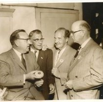 Image of TP10202 - Group-L. to R. Edmond G. Pat Brown, Norman Taber, Sonora, Brown for Governor Campaign Co-Chairman for Tuolumne Co. Andre Nissan, Sonora Max Robertson, Sonora, Brown For Governor Campaign Co-Chairman for Tuolumne Co.