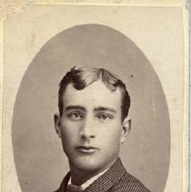 """Image of TP10391 - A 3"""" x 2"""" Black and white portrait of Charley Crabtree of Oakdale, Ca. Circa 1900's."""
