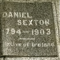 Image of TP15511 - A black and white photo of the tombstone of Daniel Sexton, 1794 - 1903, native of Ireland.
