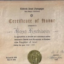 Image of Certificate of Honor for Rose Fischbein  1953