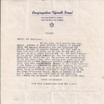 Image of Tifereth Israel - Letter regarding a new synagogue