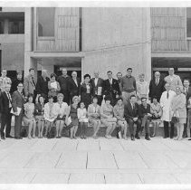 Image of Salk Inst - Sally Cohn 2nd from right next to Jonas Salk