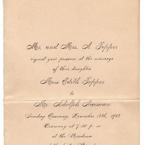 Image of Adolph and Edith Naiman Wedding Invitation 1906