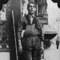Image of Adolph Naiman at his business, American Window, 1913, San Diego