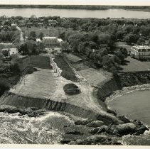 Image of Clarendon Court grounds under construction.