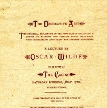 Image of Invitation to Oscar Wilde lecture, inside