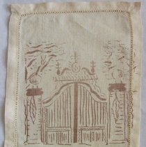 Image of Cocktail napkin depicting The Breakers's gates.