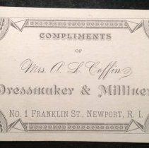 Image of Business card for Mrs. A.L. Coffin, Dressmaker and Milliner