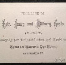 Image of Reverse, Business card of Mrs. A.L. Coffin, Dressmaker and Milliner
