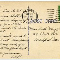 Image of Reverse of postcard, including handwritten message.