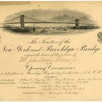 Image of Invitation to the opening of the New York and Brooklyn Bridge.