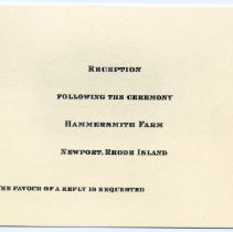 Image of Invitation to wedding reception of John F. Kennedy and Jacqueline Bouvier.
