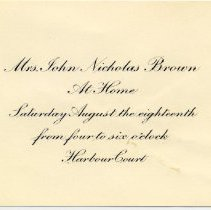 Image of Invitation to an unknown event at Harbour Court.