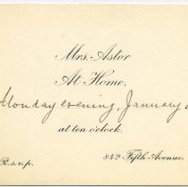 Image of Invitation to an unknown event at Mrs. Caroline Astor's home, New York.