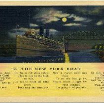 Image of Color postcard depicting a steamship bound for New York at night.