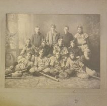 Image of Oversize photograph of a baseball team, most likely Rogers High School.