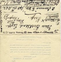 Image of Reverse of invitation, with handwritten note.