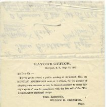 Image of Invitation from Mayor William H. Cranston, 1862.