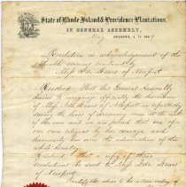 Image of Resolution from Rhode Island General Assembly to Ida Lewis.