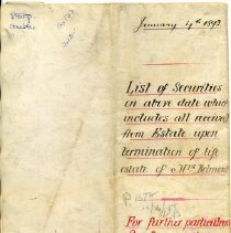 "Image of Outside page of document (""List of Securites...of Mrs. Belmont"")."