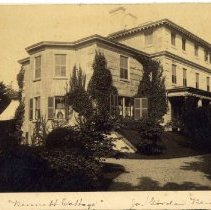 Image of View of Stone Villa from its yard, Bellevue Avenue.