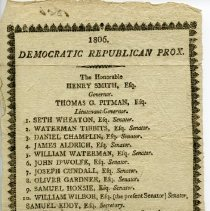 Image of Democratic Republican Party prox listing candidates for RI offices.