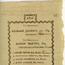 Image of Printed list of candidates for Rhode Island political offices, 1806.