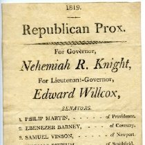 Image of A prox listing Rhode Island Republican Party candidates, 1819.