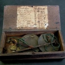 Image of Scale and weights, inside wooden case