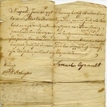 "Image of Manumission document that freed ""Jack,"" once the slave of Samuel Ayrault."