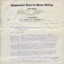 Image of Letter from Alice Paul, women's suffrage leader, to Maud Howe Elliott.