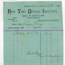 Image of Receipt for payment to New York Optical Institute, Bellevue Avenue.