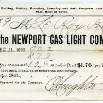Image of Invoice from the Newport Gas Light Company to LeRoy King.