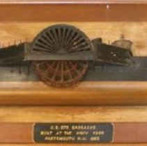 Image of C10.539 - Half-hull model 'Sassacus', paddlewheel