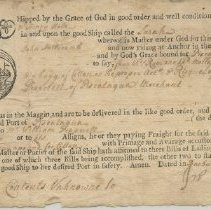 Image of MS093 B01 F20.5 - Bill of Lading for the Ship Sarah