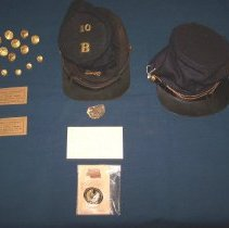 Image of Civil WAr artifacts - cap, buttons