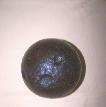 Image of Civil War artifacts; cannon ball, Kennesaw Mt.