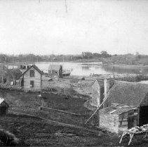 Image of PHOTOGRAPH, FISHING SHACKS IN BARNEGAT LOOKING TOWARD BROWN'S ISLAND AND PE